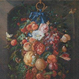 ペーパーナプキン(33)IHR:(5枚)デヘーム「Fruit and Flowers」-IH93