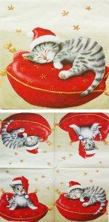 ペーパーナプキン(33)IHR:(5枚)SANTA CAT(クリーム)-IH101