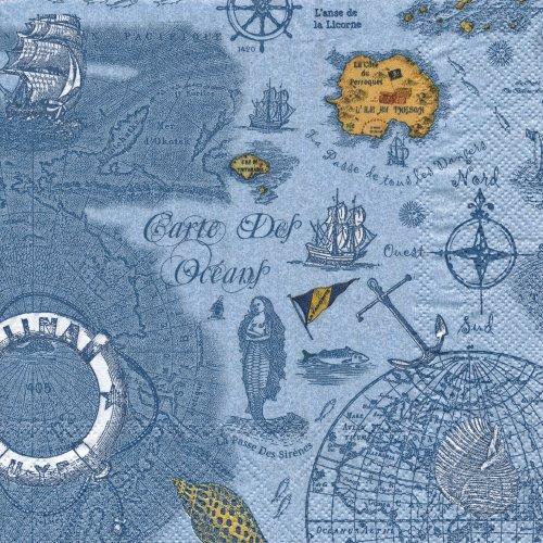 ペーパーナプキン(33)IHR:(5枚)CARTE DES OCEANS blue-IH238