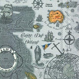 ペーパーナプキン(33)IHR:(5枚)CARTE DES OCEANS grey-IH249