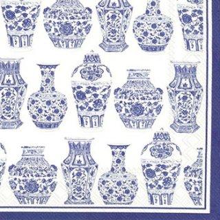 ペーパーナプキン(33)IHR:(5枚)BLUE AND WHITE URNS-IH312