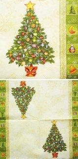 ペーパーナプキン(25)Maki:(5枚)クリスマスツリー(クリーム)-MA2(25)