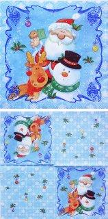ペーパーナプキン(25)Maki:(5枚)クリスマス(ブルー)-MA3(25)