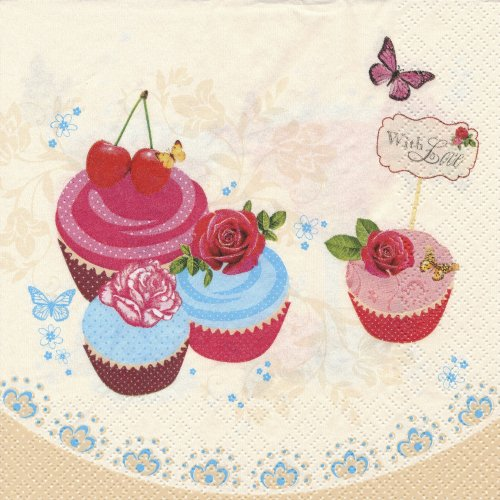 ペーパーナプキン(33)Maki:(5枚)ローズカップケーキ-MA49