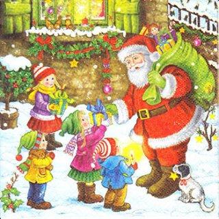 ペーパーナプキン(33)Maki:(5枚)Santa Giving Presents-MA141