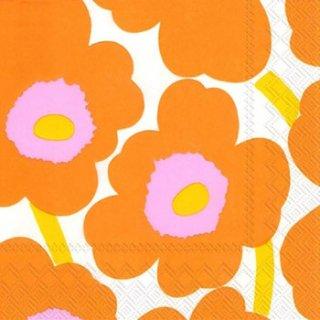 ペーパーナプキン(25)marimekkoマリメッコ:(5枚)【m-20】UNIKKO orange(25)