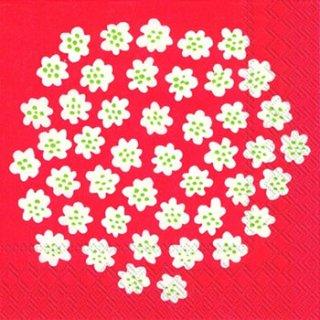 ペーパーナプキン(33)marimekkoマリメッコ:(5枚)【m-60】PUKETTI white red