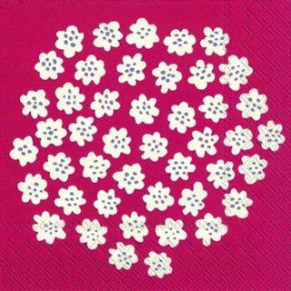 ペーパーナプキン(33)marimekkoマリメッコ:(5枚)【m-64】PUKETTI red white
