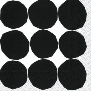 ペーパーナプキン(33)marimekkoマリメッコ:(5枚)【m-67】KIVET black white