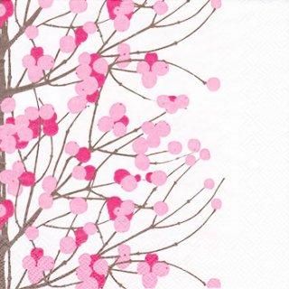ペーパーナプキン(33)marimekkoマリメッコ:(5枚)【m-81】LUMIMARJA white pink