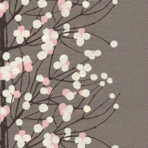 ペーパーナプキン(33)marimekkoマリメッコ:(5枚)【m-85】LUMIMARJA dark beige