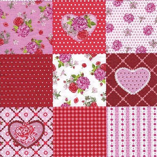 ペーパーナプキン(33)NOUVEAU:(5枚)Rosy Heart-NO1