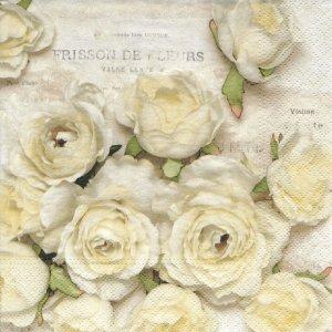 ペーパーナプキン(33)NOUVEAU:(5枚)Frisson de Fleurs(ホワイトローズ)-NO12
