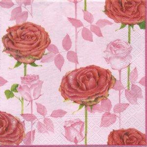 ペーパーナプキン(33)NOUVEAU:(5枚)Roses rosa-NO30