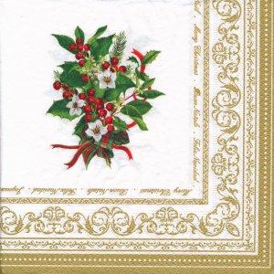 ペーパーナプキン(33)Nuova:(5枚)Christmas Holly-NU-118