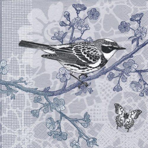 ペーパーナプキン(33)paper:(5枚)Bird in a tree(ブルーブラック)-PA45