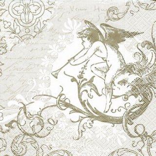 ペーパーナプキン(33)paper:(5枚)クラッシック エンジェル(シルバー)-PA114