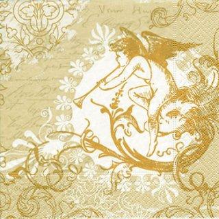 ペーパーナプキン(33)paper:(5枚)クラッシック エンジェル(ゴールド)-PA115
