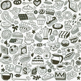 ペーパーナプキン(33)paper:(5枚)Zentangle food-PA225