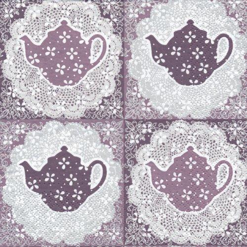 ペーパーナプキン(33)paw:(5枚)Tasty Tea(パープル)-PW17
