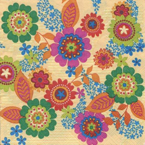 ペーパーナプキン(33)paw:(5枚)Hippie Flowers yellow-PW83