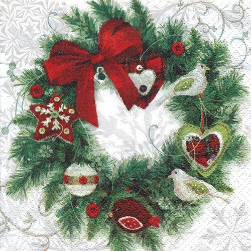 ペーパーナプキン(33)paw:(5枚)Wreath with Birds-PW88