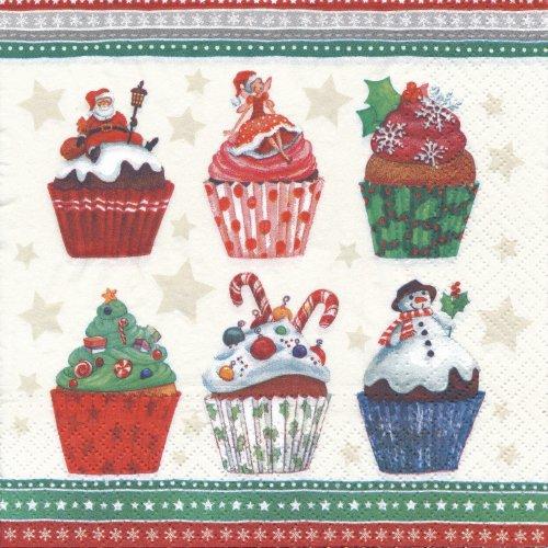 ペーパーナプキン(33)paw:(5枚)Christmas Cupcakes-PW89