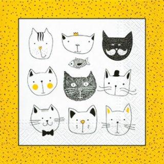 ペーパーナプキン(33)paw:(5枚)Funny Cats-PW139
