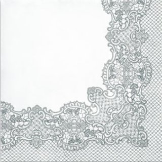 ペーパーナプキン(33)paw:(5枚)Royal Lace (silver)-PW152