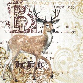 ペーパーナプキン(33)paw:(5枚)Majestic Deer-PW182
