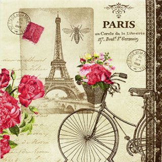 ペーパーナプキン(25)ppd:(5枚)パリ(自転車)-PP4(25)