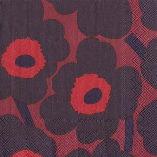 ペーパーナプキン(33)marimekkoマリメッコ:(5枚)【m-97】UNIKKO dark red