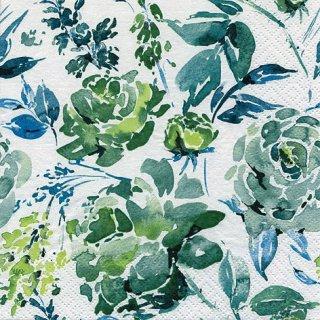 ペーパーナプキン(33)ti-flair:(5枚)Fleurs Lumineuses green-TI112