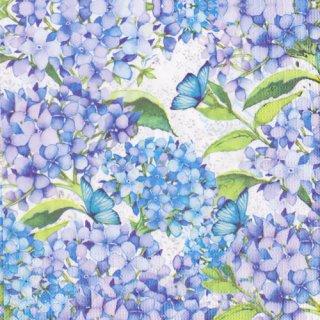 ペーパーナプキン(33)ppd:(5枚)紫陽花(ブルー)-PP311