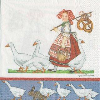 ペーパーナプキン(33)AMB:(5枚)GIRL WHITH GEESE-AM590
