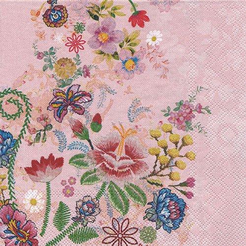ペーパーナプキン(33)AMB:(5枚)EMBROIDERY FLOWERS ROSE-AM596