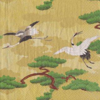 ペーパーナプキン(33)caspari:(5枚)鶴(ゴールド)-CA100