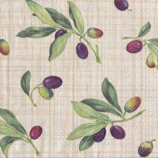 ペーパーナプキン(33)caspari:(5枚)Olive Grove Natural-CA104