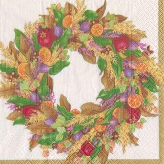 ペーパーナプキン(33)caspari:(5枚)Autumn Wreath-CA105