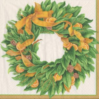ペーパーナプキン(33)caspari:(5枚)magnificent Magnolia wreath-CA109