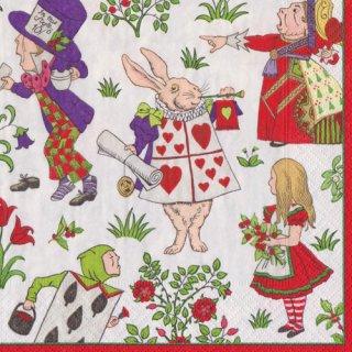 ペーパーナプキン(33)caspari:(5枚)Alice In Wonderland レッド (V&A)-CA107