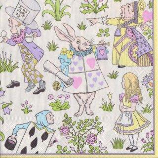 ペーパーナプキン(33)caspari:(5枚)Alice In Wonderland イエロー(V&A)-CA108