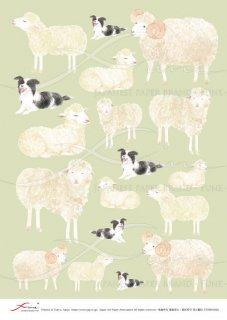 デコパージュ用アートペーパー「FUNE」ATNM03048 羊と犬