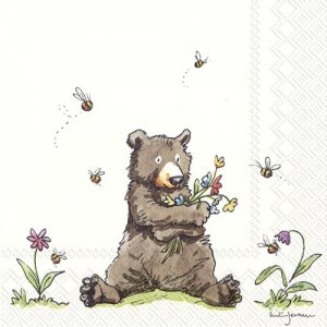 ペーパーナプキン(33)IHR:(5枚)HONEY BEAR-IH393
