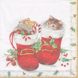 ペーパーナプキン(33)IHR:(5枚)SWEET CHRISTMAS BOOTS-IH398