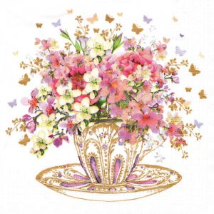 ペーパーナプキン(33)ppd:(5枚)Tea Cup Blossoms-PP331