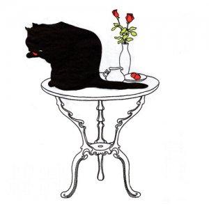 ペーパーナプキン(33)ppd:(5枚)Black Cat Bath-PP342