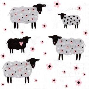ペーパーナプキン(33)ppd:(5枚)Flower Sheeps-PP344