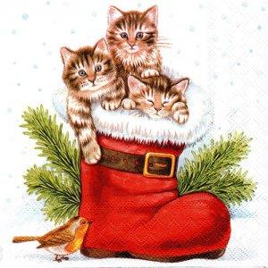 ペーパーナプキン(33)AMB:(5枚)クリスマスキティズ-AM72