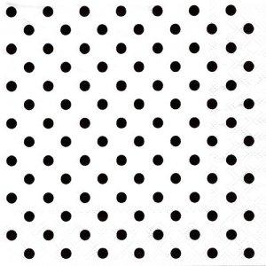 ペーパーナプキン(33)AMB:(5枚)白地黒のドット-AM7